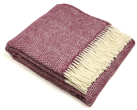 Tweedmill Throw Blanket - Pure New Wool - Lifestyle Beehive (Cherry)