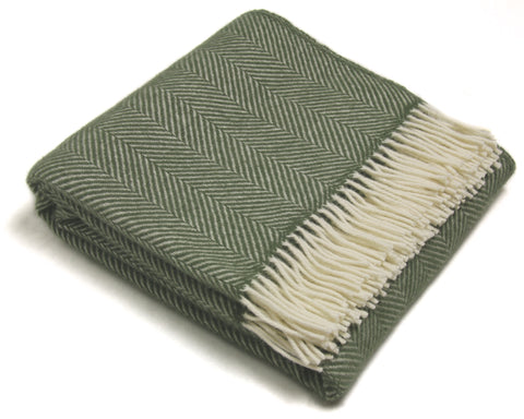 Wool Throw Blanket by Tweedmill - Lifestyle Fishbone (Olive)