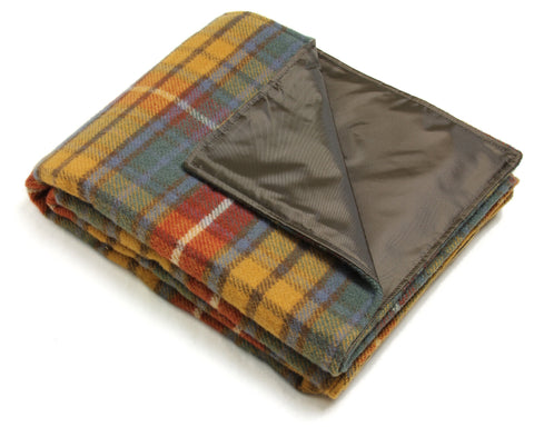 Wool Picnic Blanket w/ Waterproof Backing, Handles (Antique Buchannan)