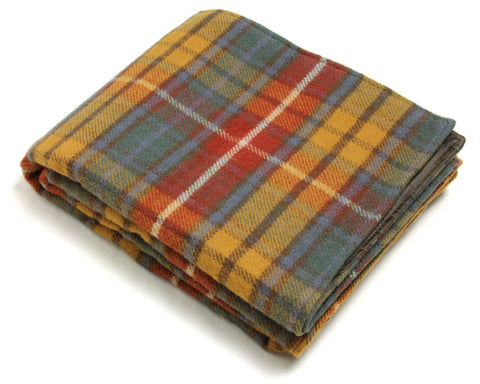 Wool Picnic Blanket w/ Waterproof Backing, Handles (Antique Buchanan)
