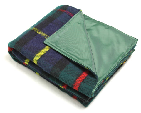 Wool Picnic Blanket w/ Waterproof Backing, Handles (Hunting McLeod)