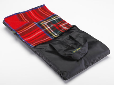 Wool Picnic Blanket w/ Waterproof Backing, Handles (Royal Stewart)