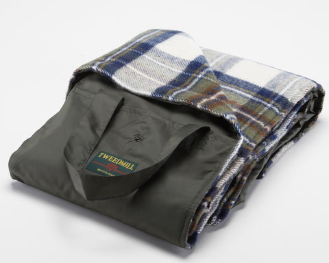 Wool Picnic Blanket with Waterproof Backing (Muted Blue Dress Stewart)
