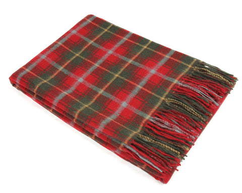 Tweedmill Tartan Throw Blanket - Lambswool (Dark Maple)