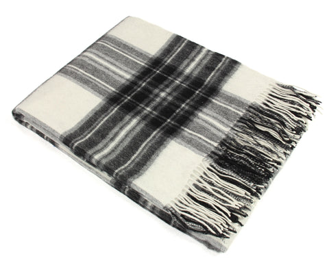 Tweedmill Tartan Throw Blanket - Lambswool (Gray Dress Stewart)