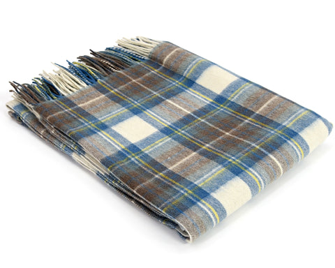 Tweedmill Tartan Throw Blanket - Lambswool (Muted Blue Dress Stewart)