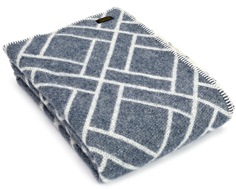 Pure New Wool Throw Blanket by Tweedmill - Brick Jackard (Blue)