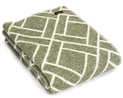 Pure New Wool Throw Blanket by Tweedmill - Brick Jackard (Sage Green)