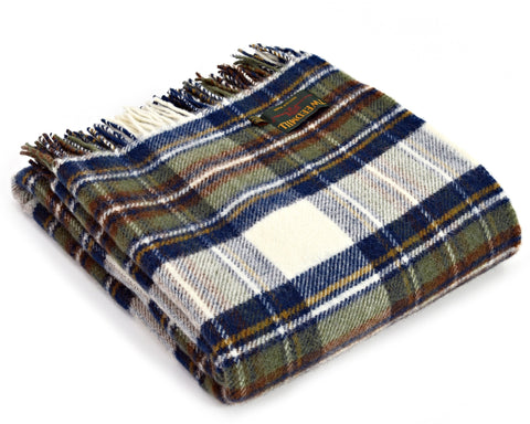Tweedmill Tartan Throw Blanket - Pure Wool (Muted Blue Dress Stewart)
