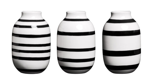 Kahler Omaggio Mini Ceramic Vase 3-Pack - 3.1 In. (White / Black)