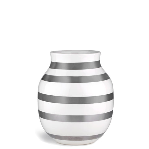 Kahler Omaggio Medium Ceramic Vase - White / Silver