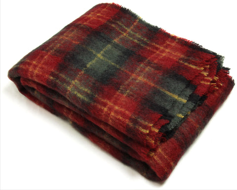 Mohair Throw Blanket by Cape Mohair (Cherry Plaid)