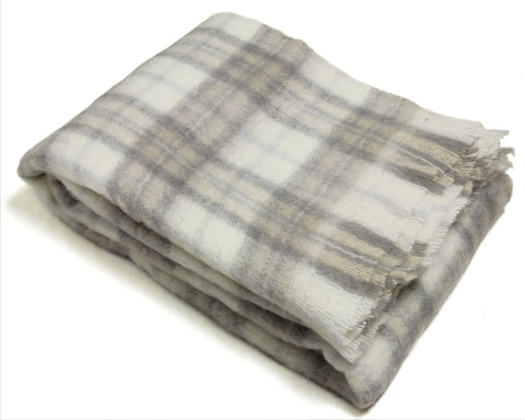 Mohair Throw Blanket by Cape Mohair (Natural Plaid)
