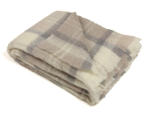 Mohair Throw Blanket by Cape Mohair (Earth Plaid - Beige, Cream, Gray)
