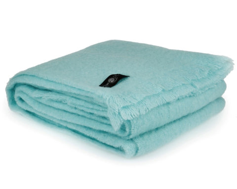 Mohair Throw Blanket by Cape Mohair (Duck Egg - Light Blue)
