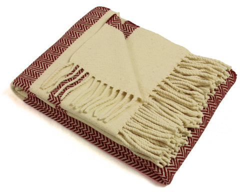 Wool Throw Blanket by Burel Factory - Chevron Stripes (Bordeaux)
