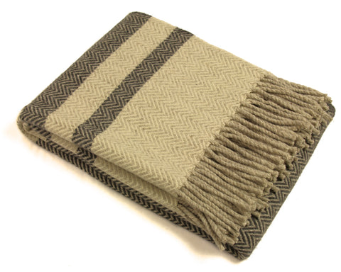 Wool Throw Blanket by Burel Factory - Chevron Stripes (Charcoal Gray)
