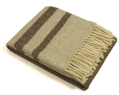 Wool Throw Blanket by Burel Factory - Chevron Stripes (Chocolate)