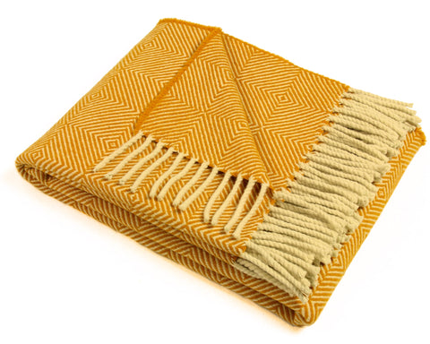 Wool Throw Blanket by Burel Factory - Diamond (Gold)