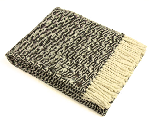 Wool Throw Blanket by Burel Factory - Maze (Black)