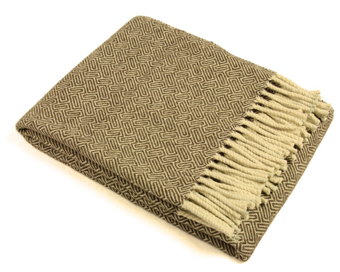 Wool Throw Blanket by Burel Factory - Maze (Warm Brown)