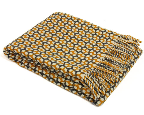 Wool Throw Blanket by Burel Factory - Gathering (Yellow with Dark Gray)