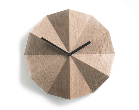 Modern Danish Design Wall Clock by LAWA Design - 11 Inch (Oak)