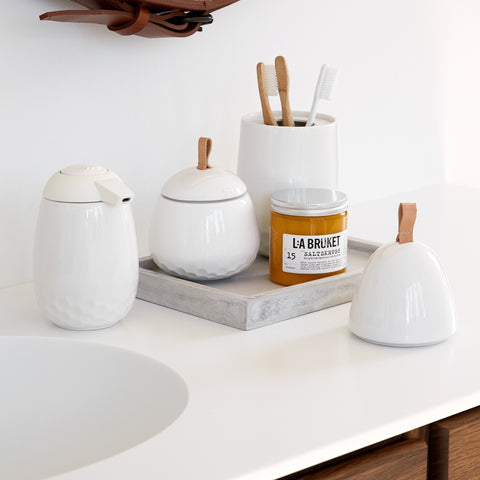 Kahler Mellibi Bathroom Storage Canister / Storage Jar - Large (White)