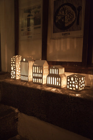 Kahler Urbania Tea Light House - Ceramic Candle Holder - Pantheon
