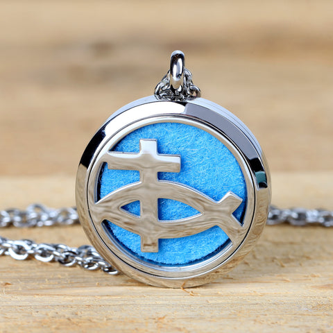Christian Fish Religious Aromatherapy Essential Oil Diffuser Necklace Locket Pendant