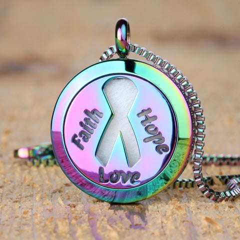 "Faith Hope Love Aromatherapy Essential Oil Diffuser Necklace with 20"" & 24"" Chains and Multi-Colored Oil Pads"