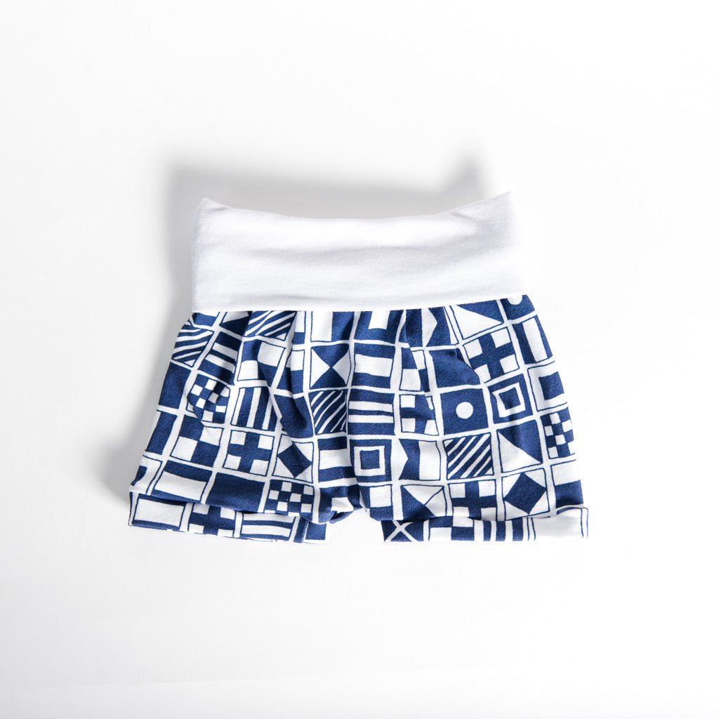 Navy Flag Romper Shorts