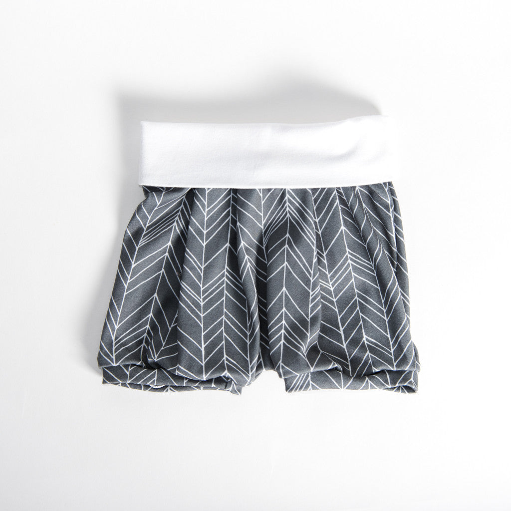 Grey Chevron Romper Shorts