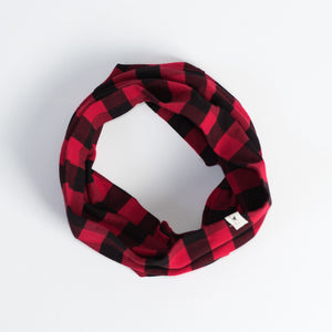 Red and Black Check Infinity Scarf