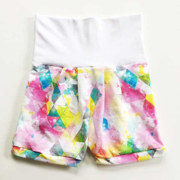 Watercolor Triangle Romper Shorts
