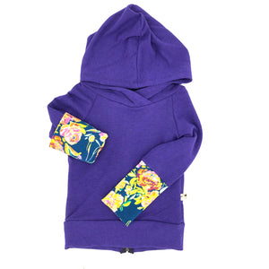 Purple Bamboo Fleece Back Zip Hoodie