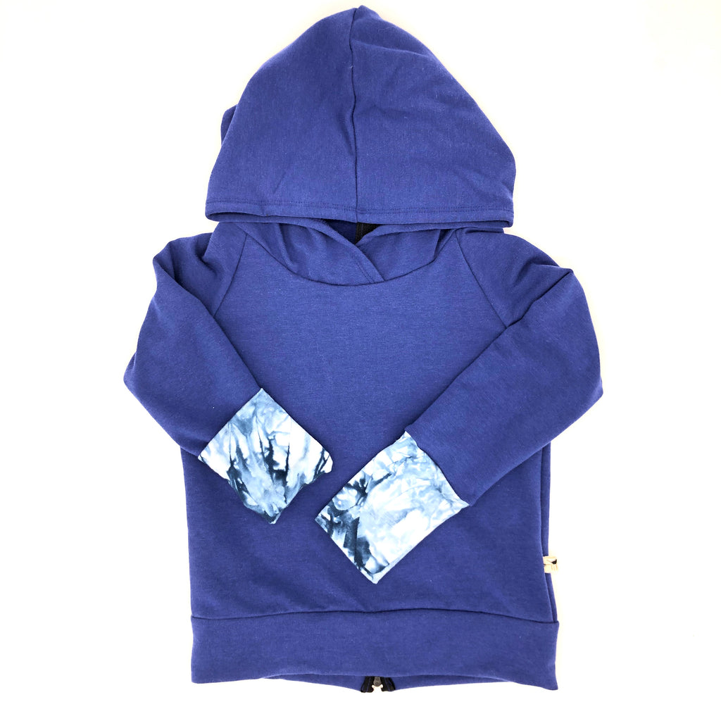 Blue Bamboo Fleece Back Zip Hoodie