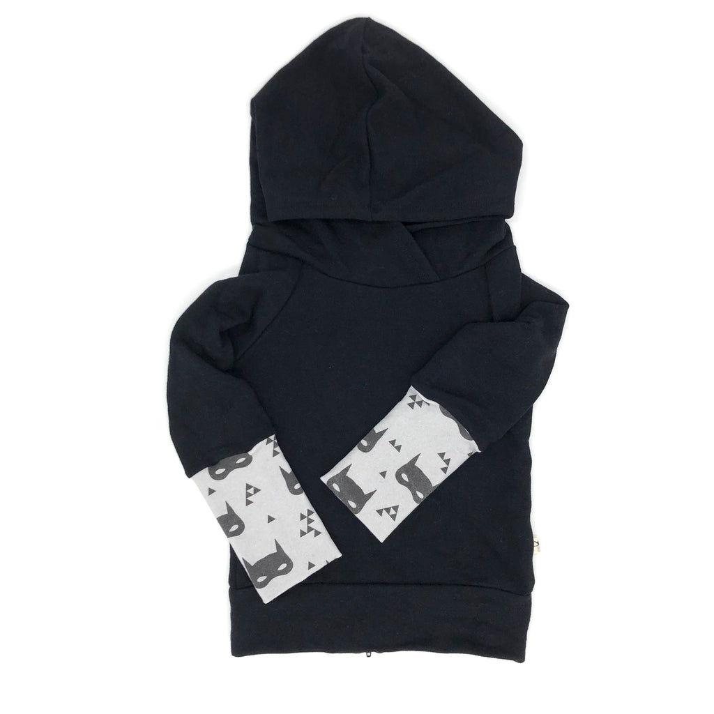 Black Bamboo Fleece Back Zip Hoodie