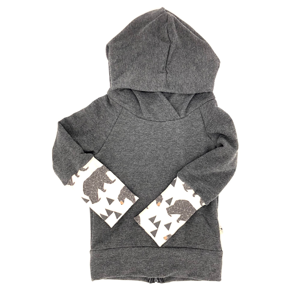 Dark Grey Bamboo Fleece Back Zip Hoodie