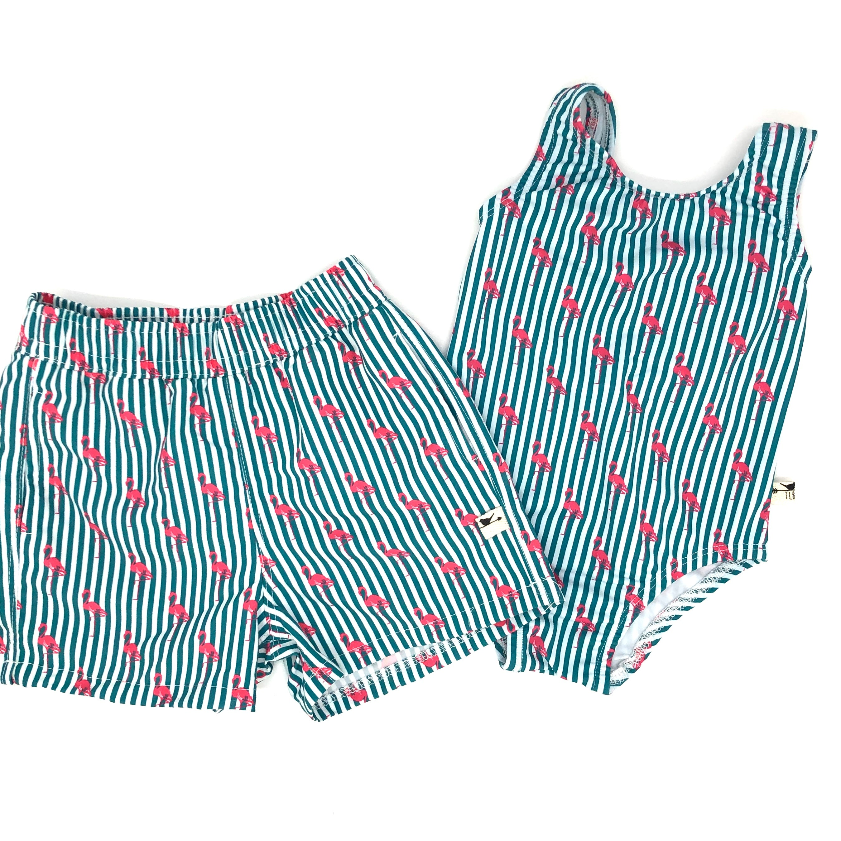 Pin Stripe Flamingo Swim Shorts and Swim Suit