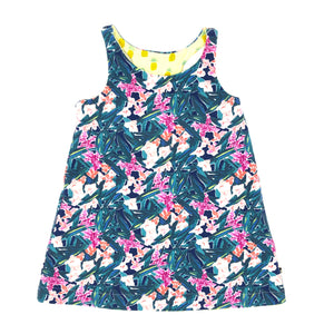 Flower/Pineapple Reversible Racerback Tank Dress