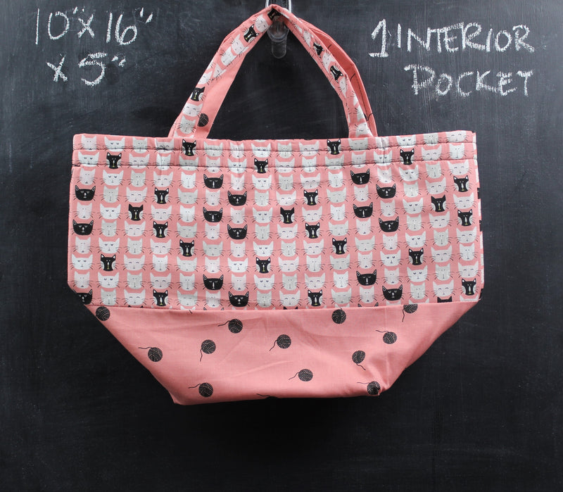 Bucket Tote in Coral Cats