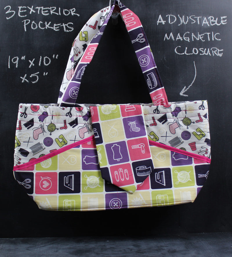 Ewesful Tote in Tools of the Trade with Pink