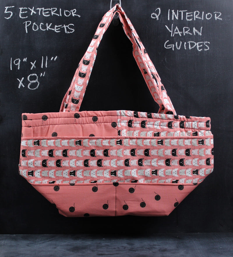 Barrel Tote in Coral Cats