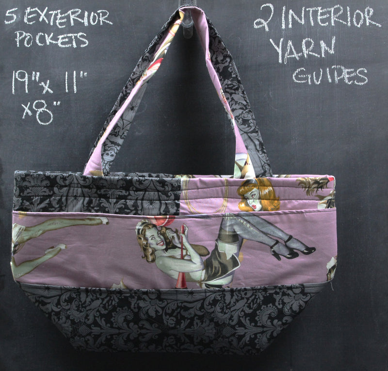 Barrel Tote Bag in Purple Zombie Pinups
