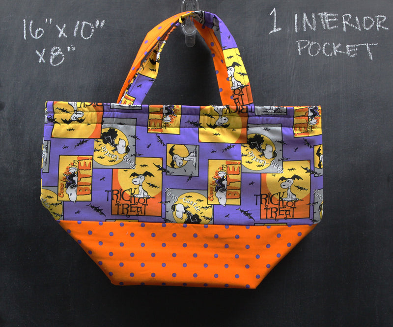 Bucket Tote Bag in Snoopy Squares