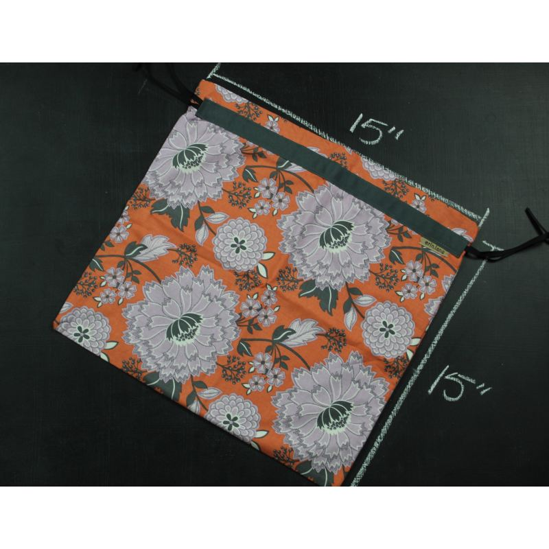 Large Project Bag In Orange And Purple Floral Project Bag