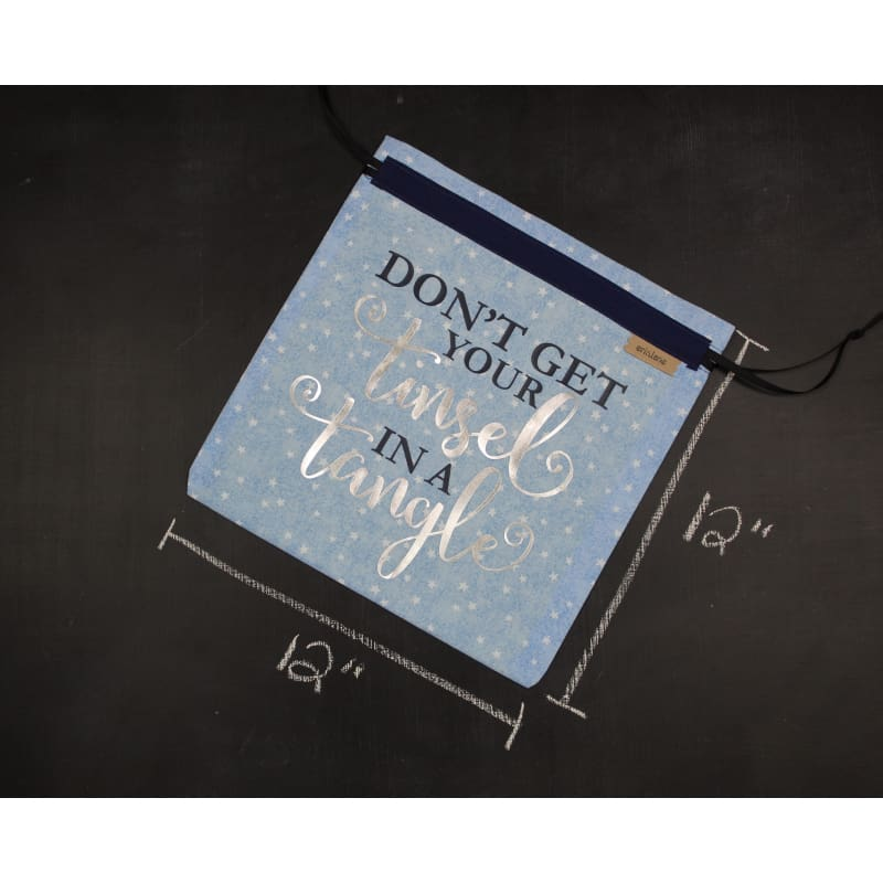 Small Project Bag In Dont Get Your Tinsel In A Tangle In Navy And Silver Project Bag