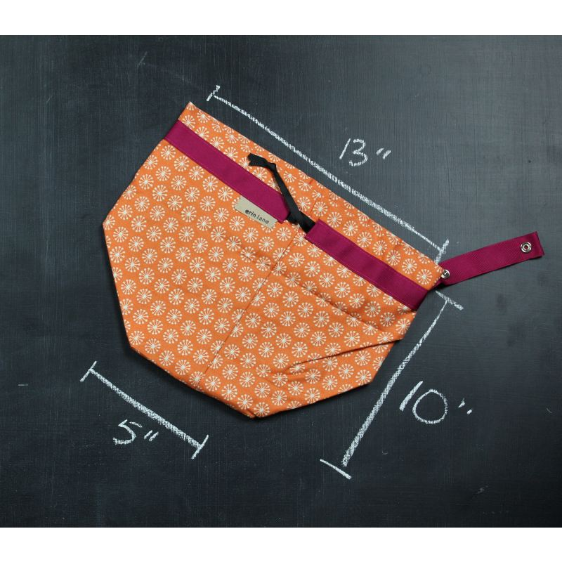 Twofer Project Bag In Orange Pinwheel Project Bag