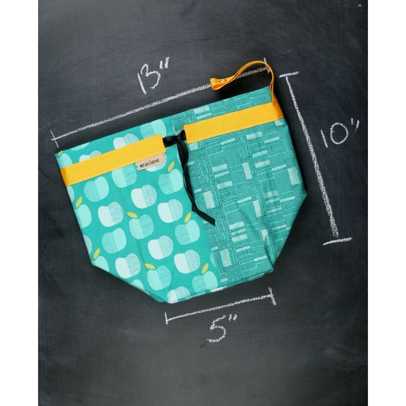 Twofer Project Bag In Teal Apples Project Bag
